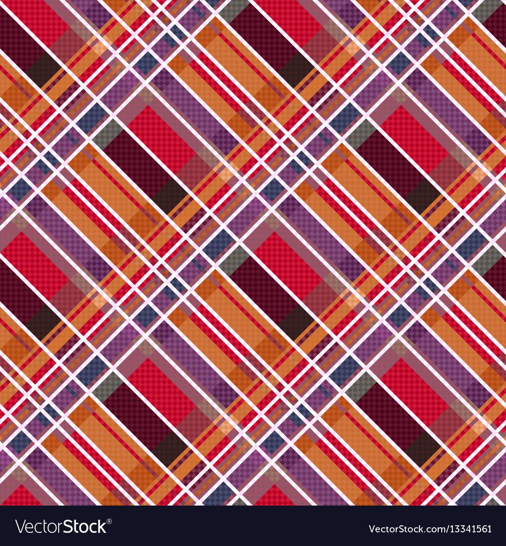 Rhombic tartan fabric seamless texture in warm