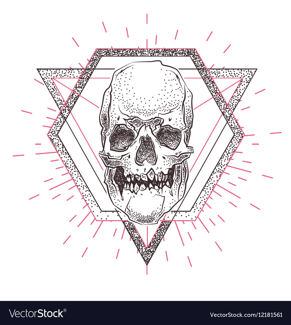 Skull with geometric abstract elements Hand Drawn