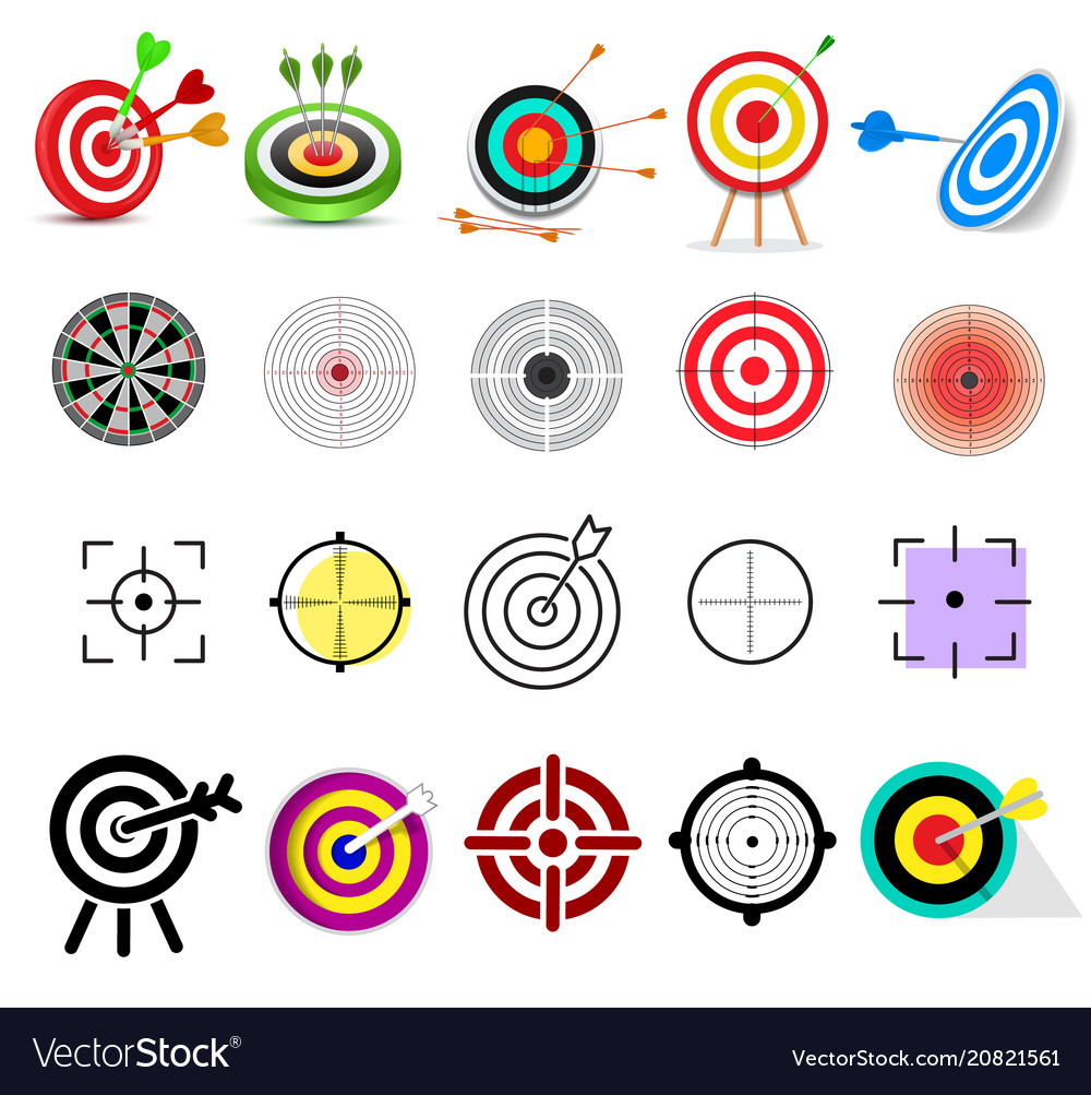 Target icon arrow in aim of dartboard and