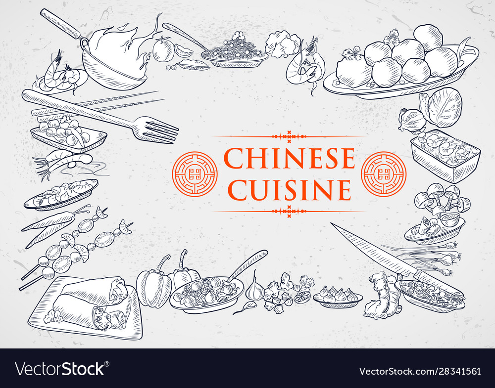 Template different types chinese cuisine