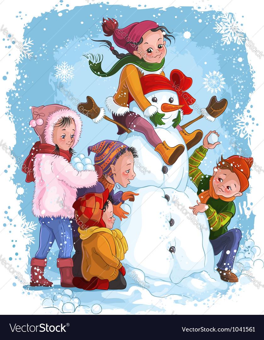 Winter games children snowman christmas vacation
