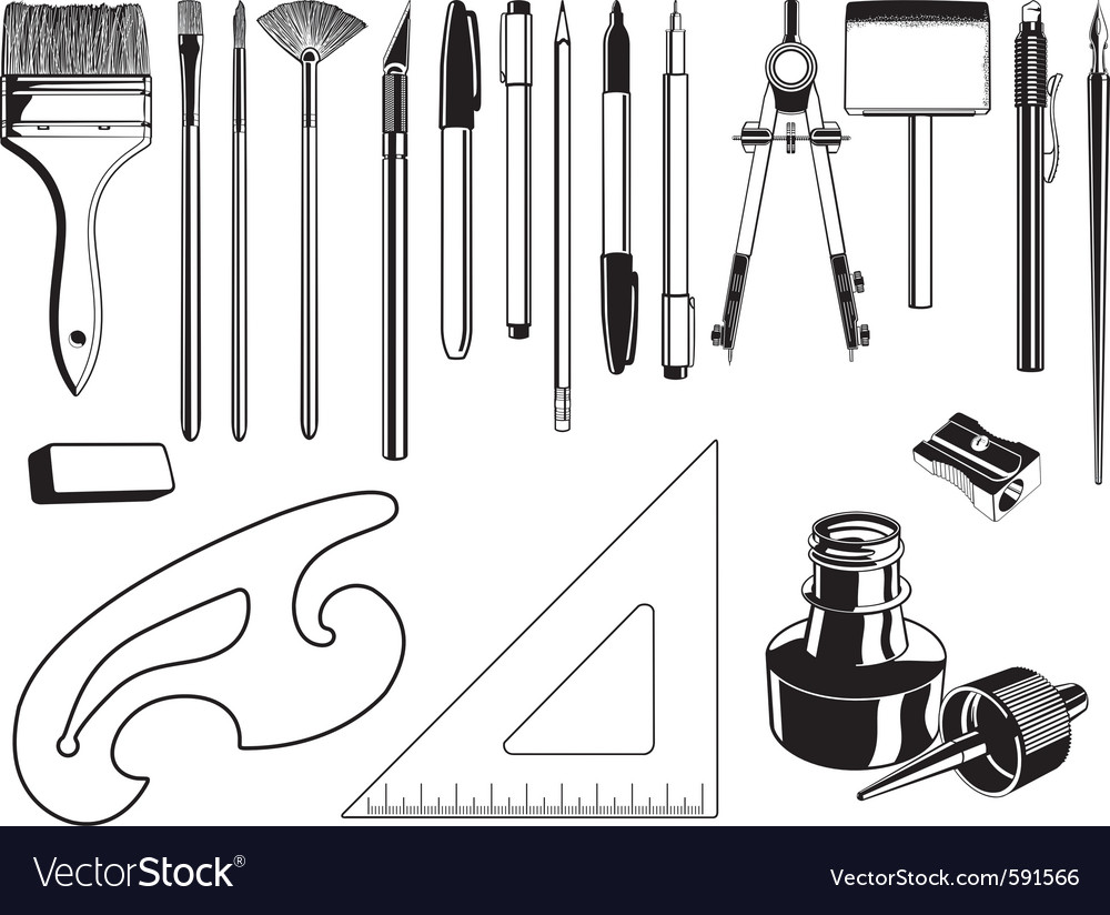 Art and drawing supplies black and white set