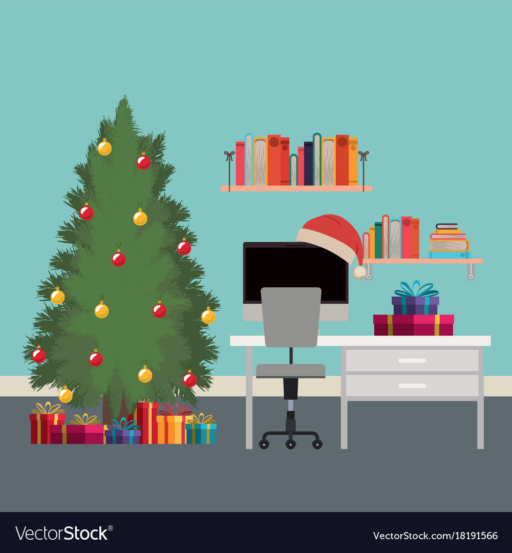 Christmas scene office desk with tree and gifts Vector Image