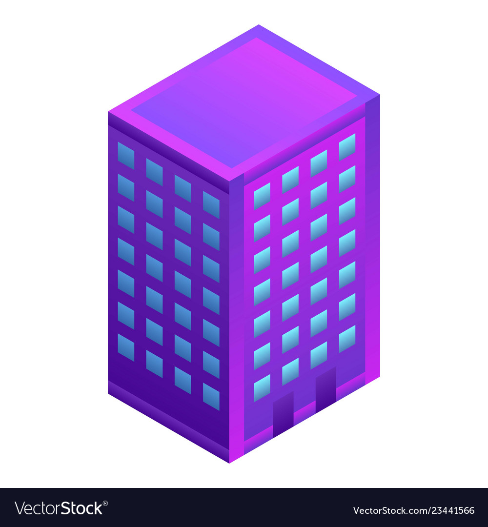 City hotel building icon isometric style
