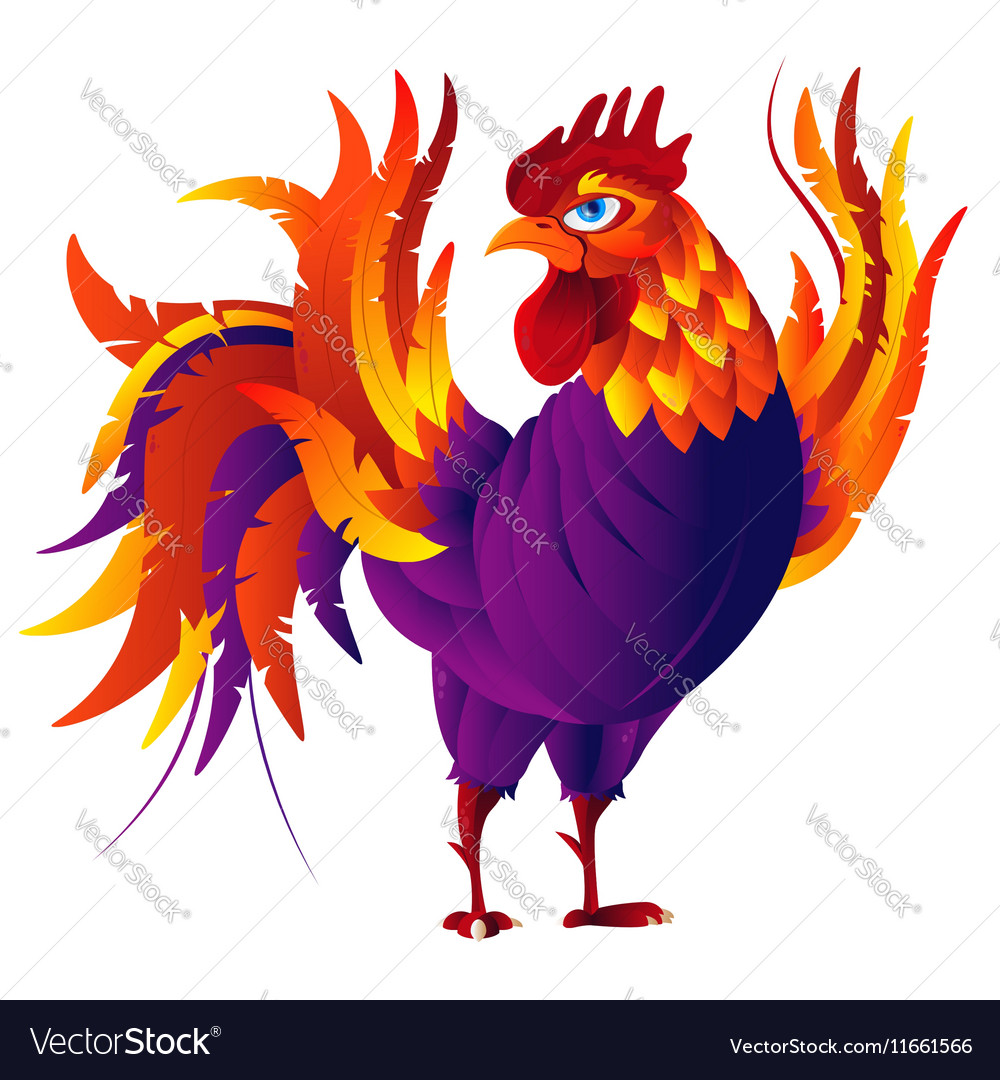 Colorful cartoon rooster symbol 2017 year by