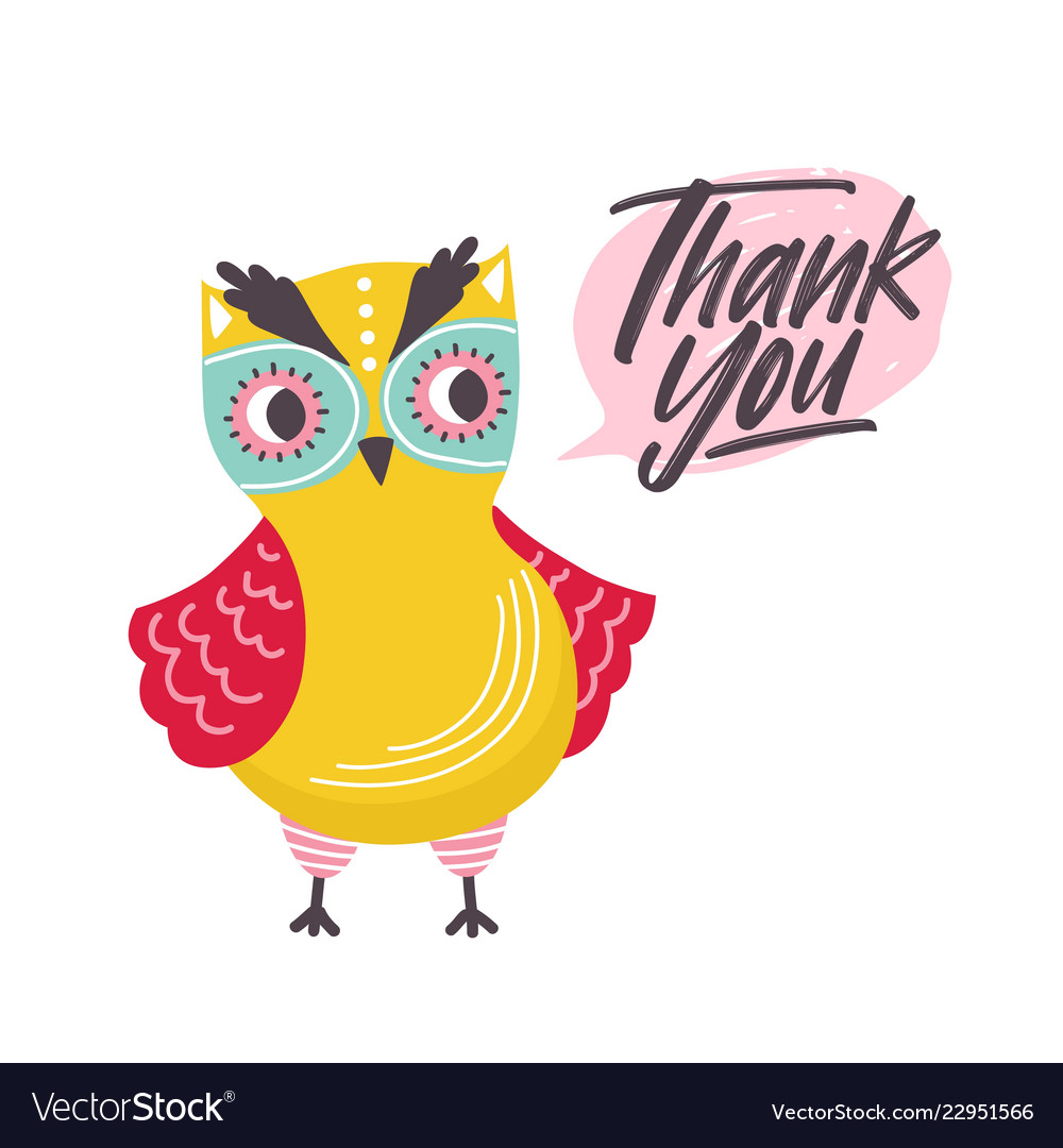 Cute owl saying thank you word funny owlet and