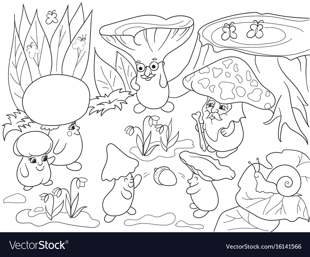 Family of mushrooms in the forest coloring book Vector Image