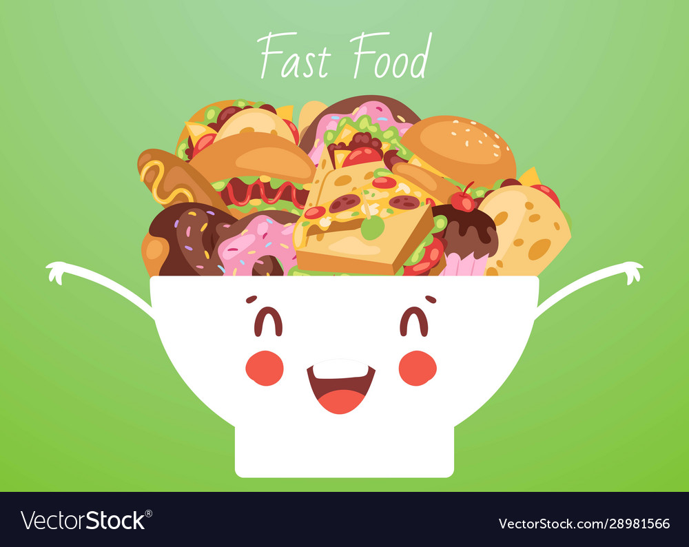 Fast food and snacks in cute funny smiling kawaii