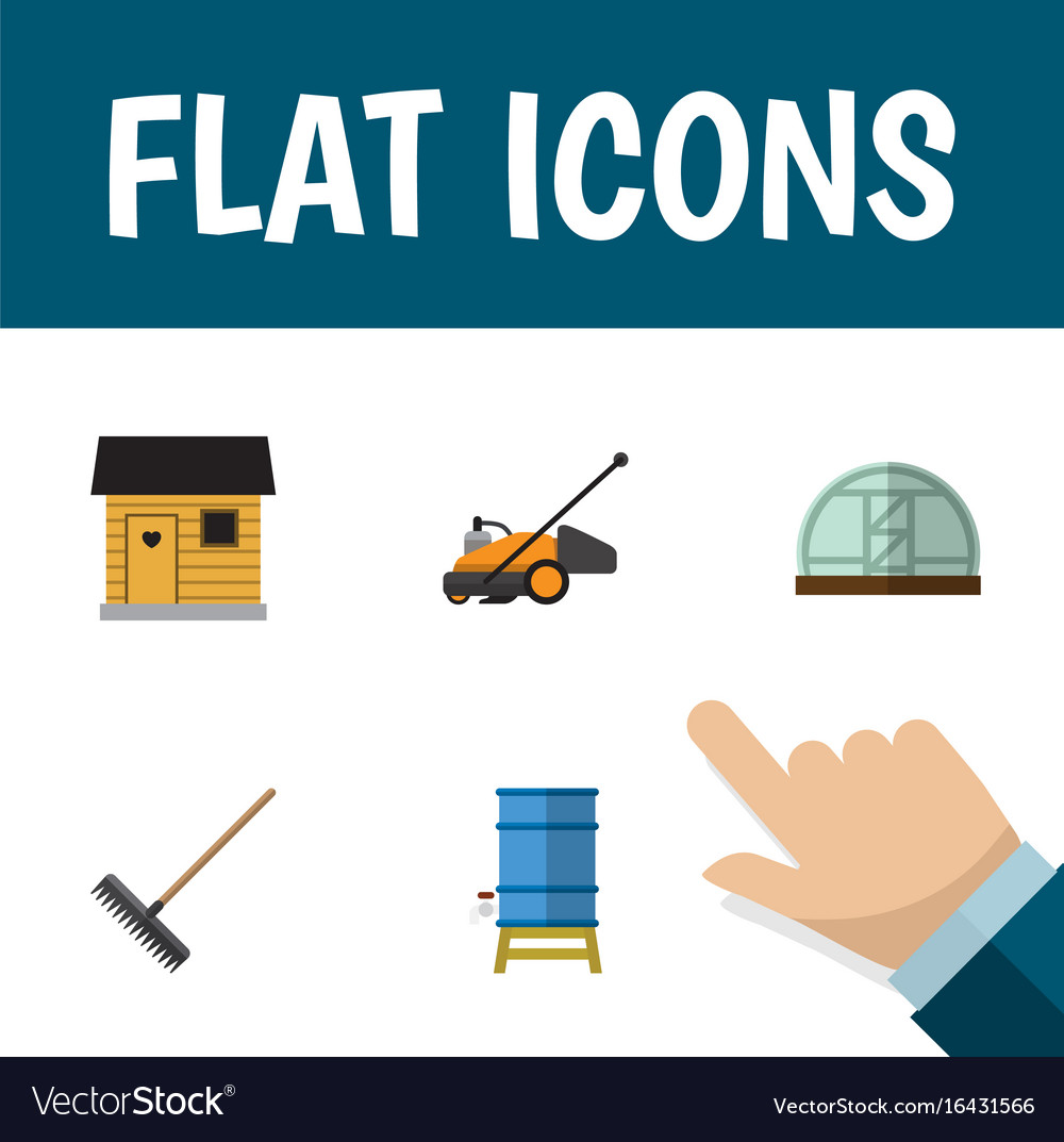 Flat icon garden set of lawn mower container