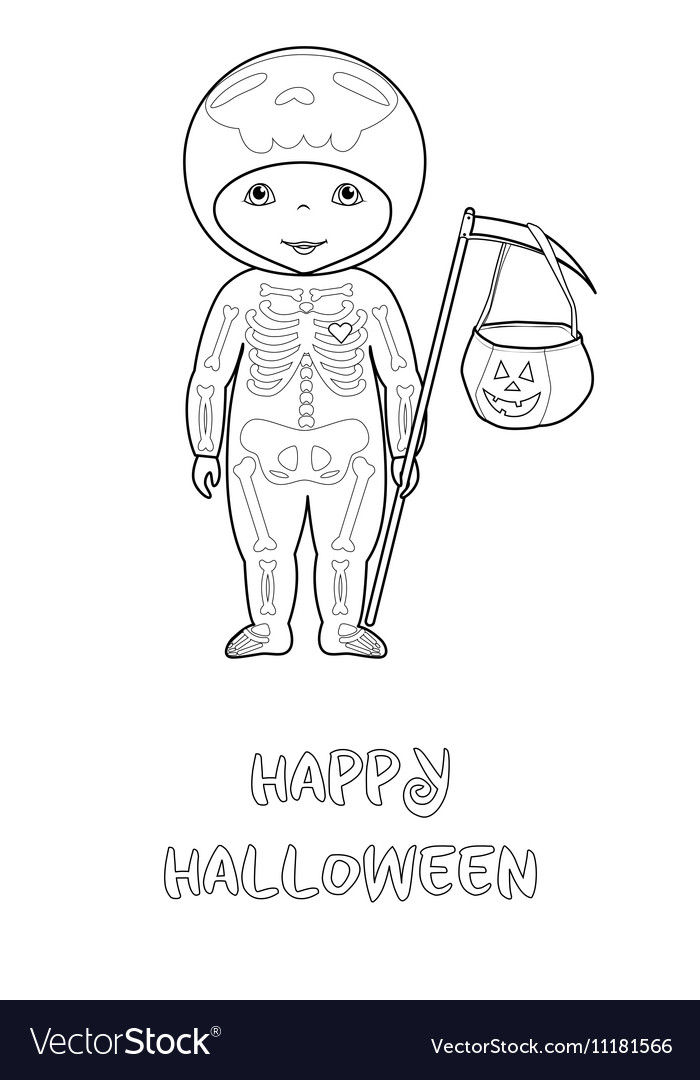 Halloween coloring page with cute skeleton