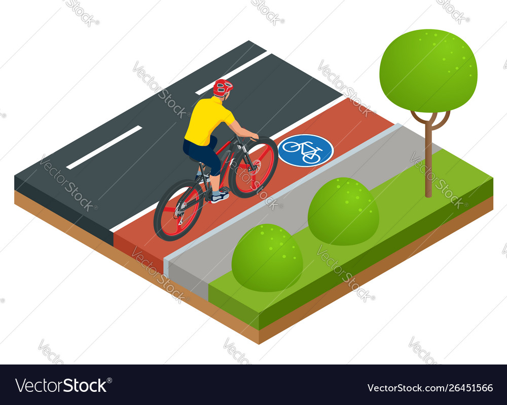 Isometric modern electric bicycle icons a man