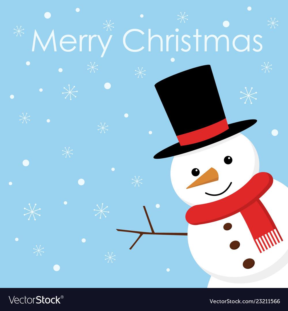 Merry christmas christmas card with cute snowman