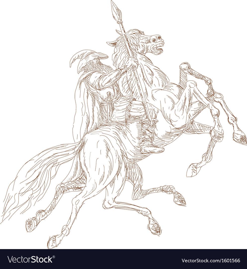 Norse God Odin riding eight-legged horse