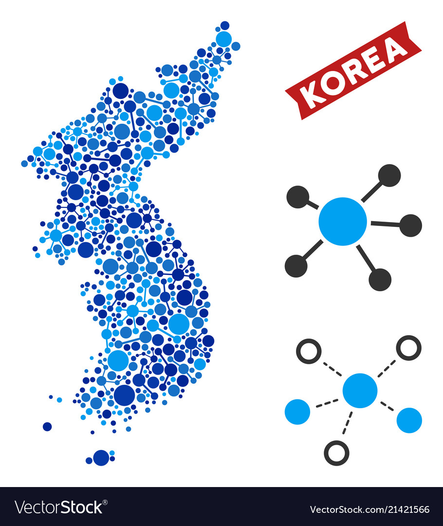 North And South Korea Map Connections Mosaic Vector Image