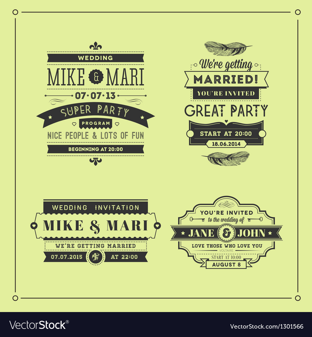 Retro wedding stamps