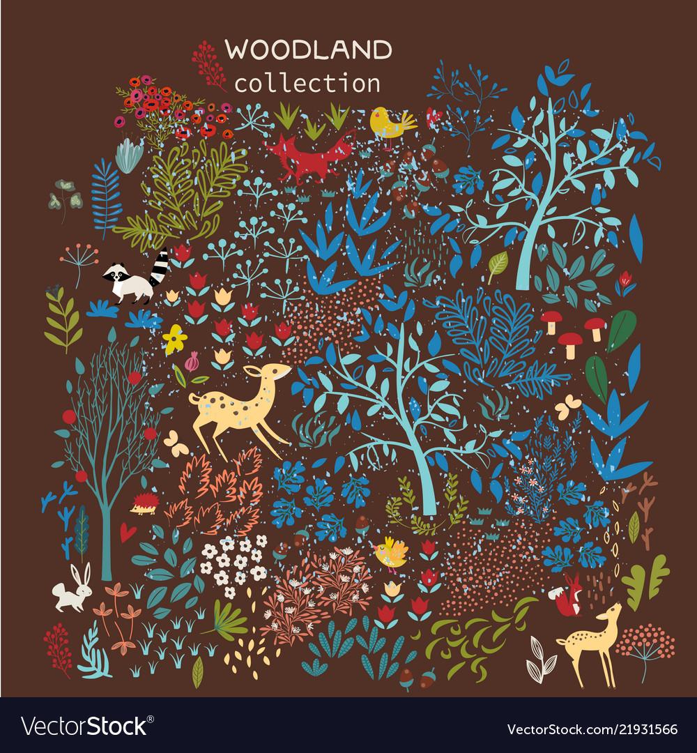Set of woodland elements