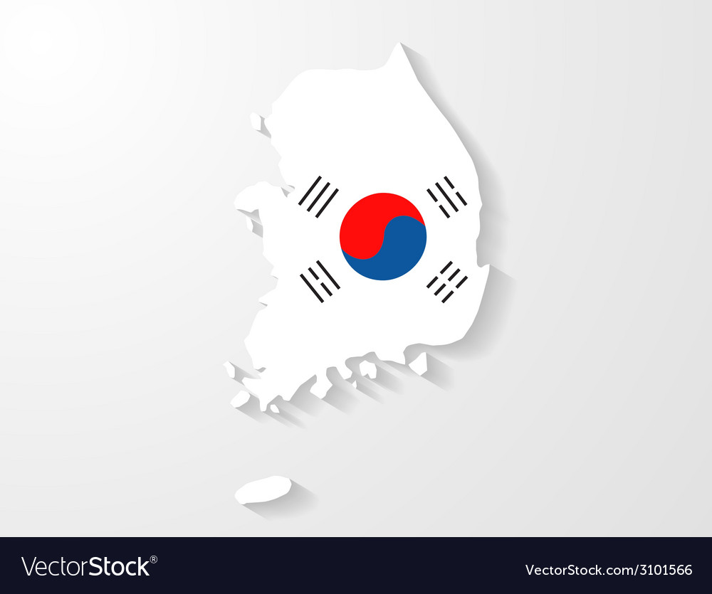 South Korea flag map with shadow effect Royalty Free Vector on