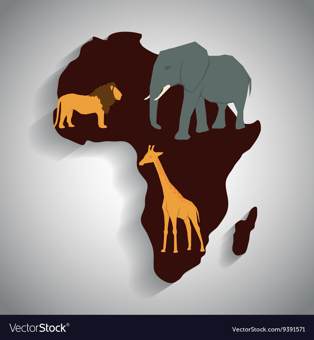 Africa design map shape icon animals Royalty Free Vector