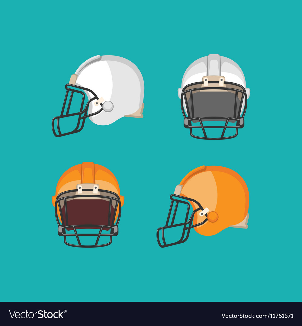 American Football White and Orange Helmet Isolated