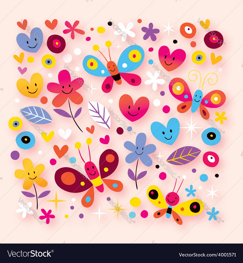 Butterflies hearts flowers royalty free vector image butterflies hearts flowers vector image mightylinksfo
