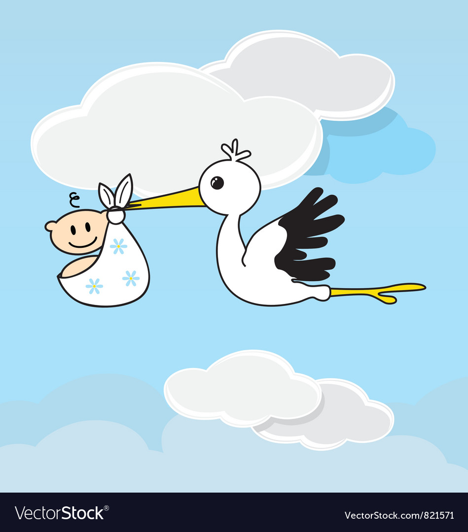 Cute stork carrying a happy baby