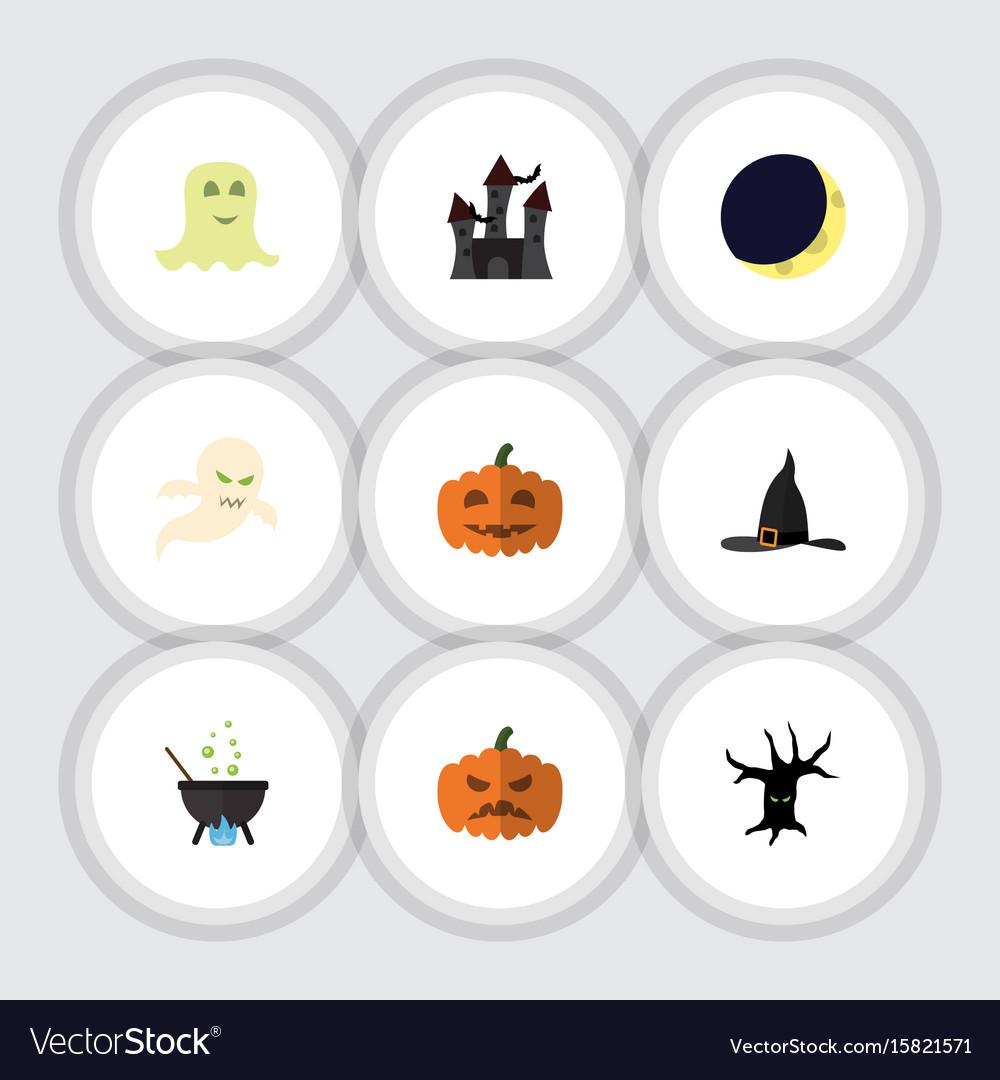 Flat icon halloween set of spirit pumpkin magic vector image