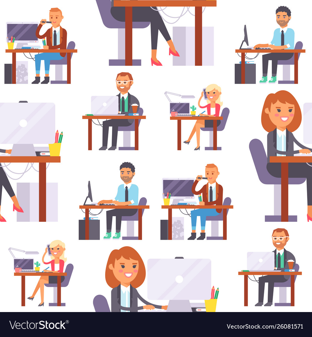 Flat people work place business worker