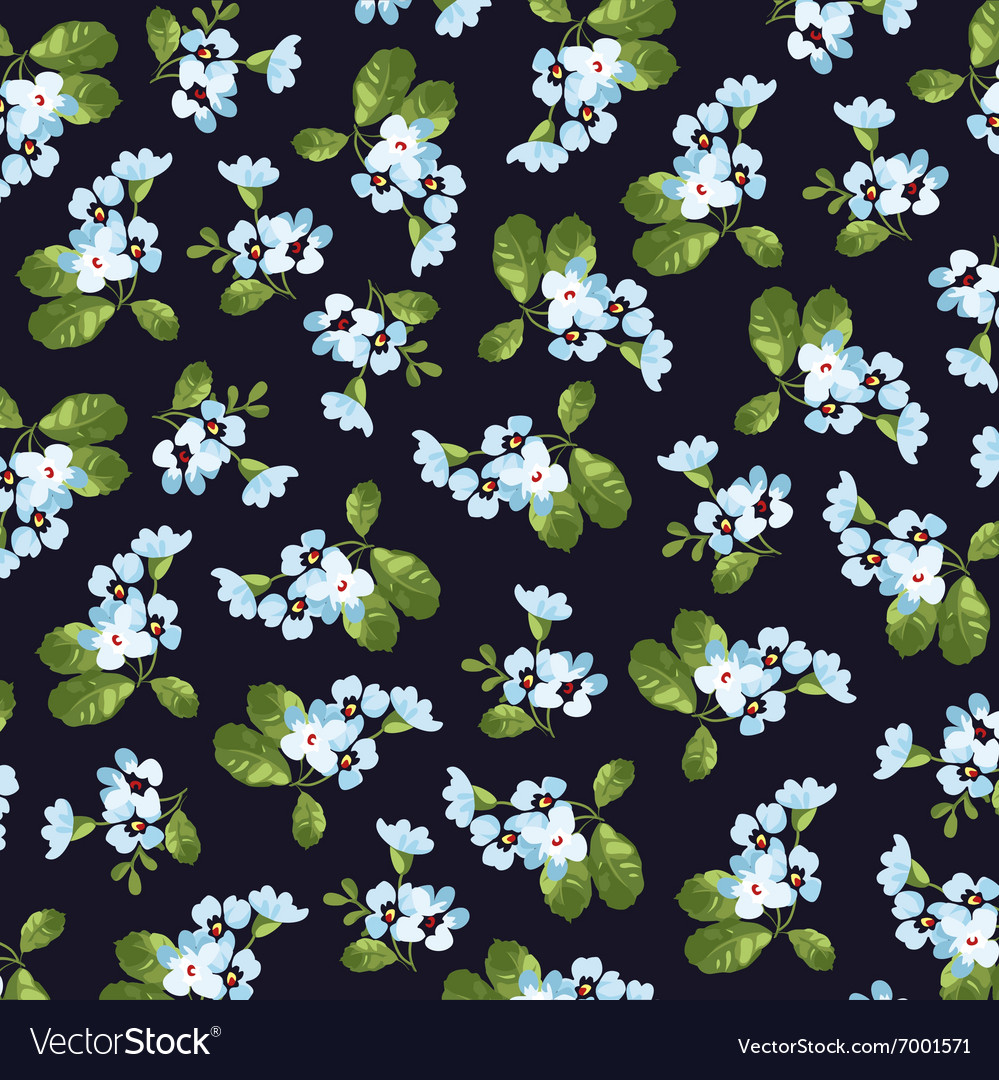 Floral pattern with little blue flowers
