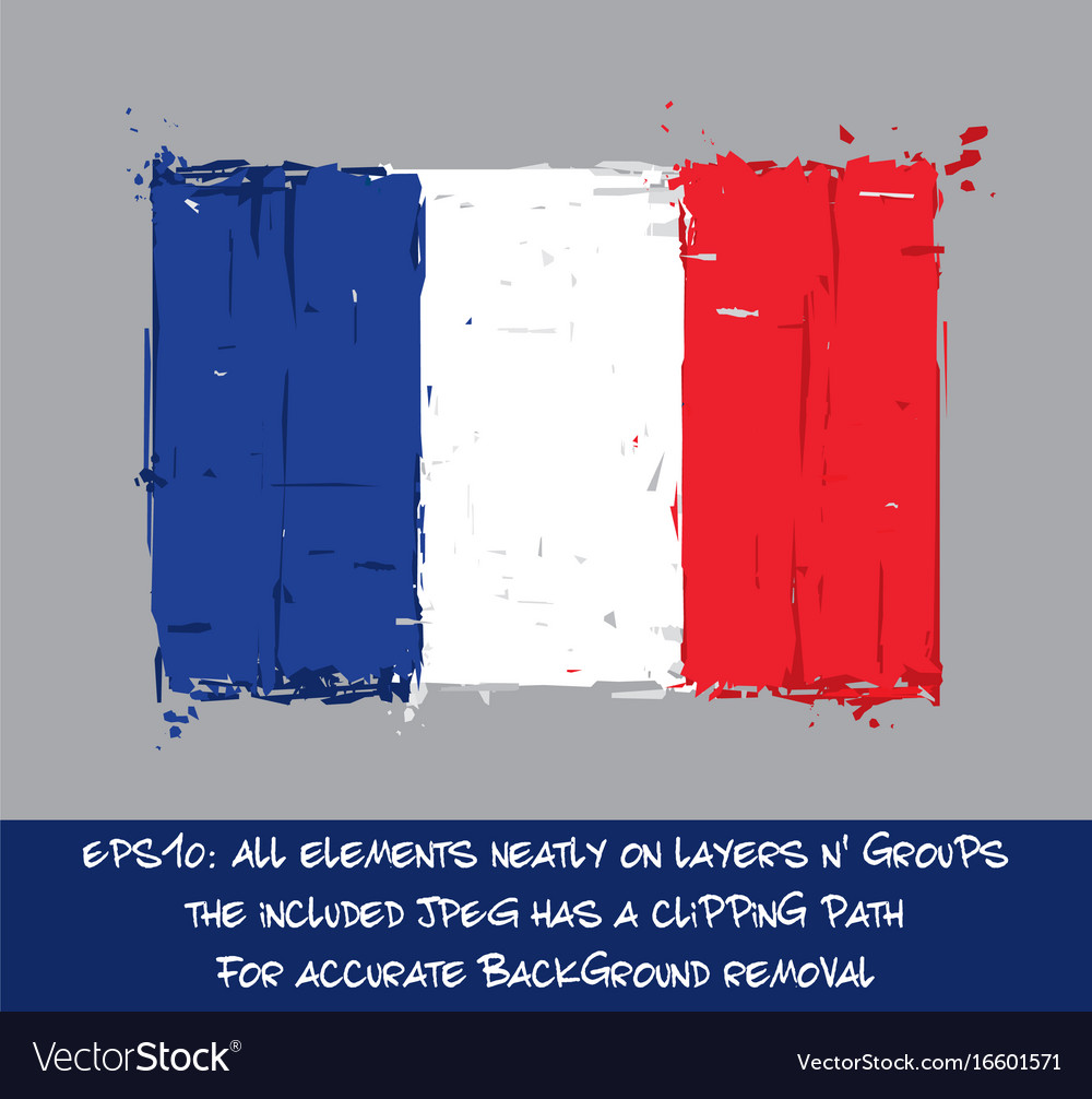 French flag flat - artistic brush strokes and vector image