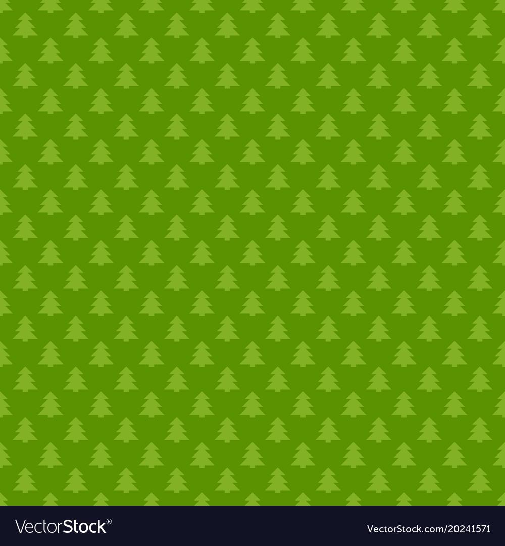 Green seamless retro stylized pine tree forest