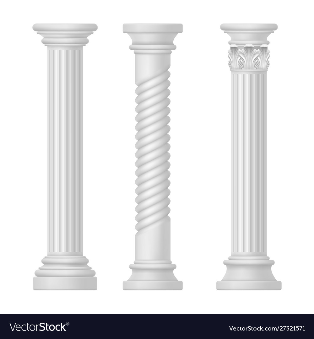 Set isolated greek and roman egypt column