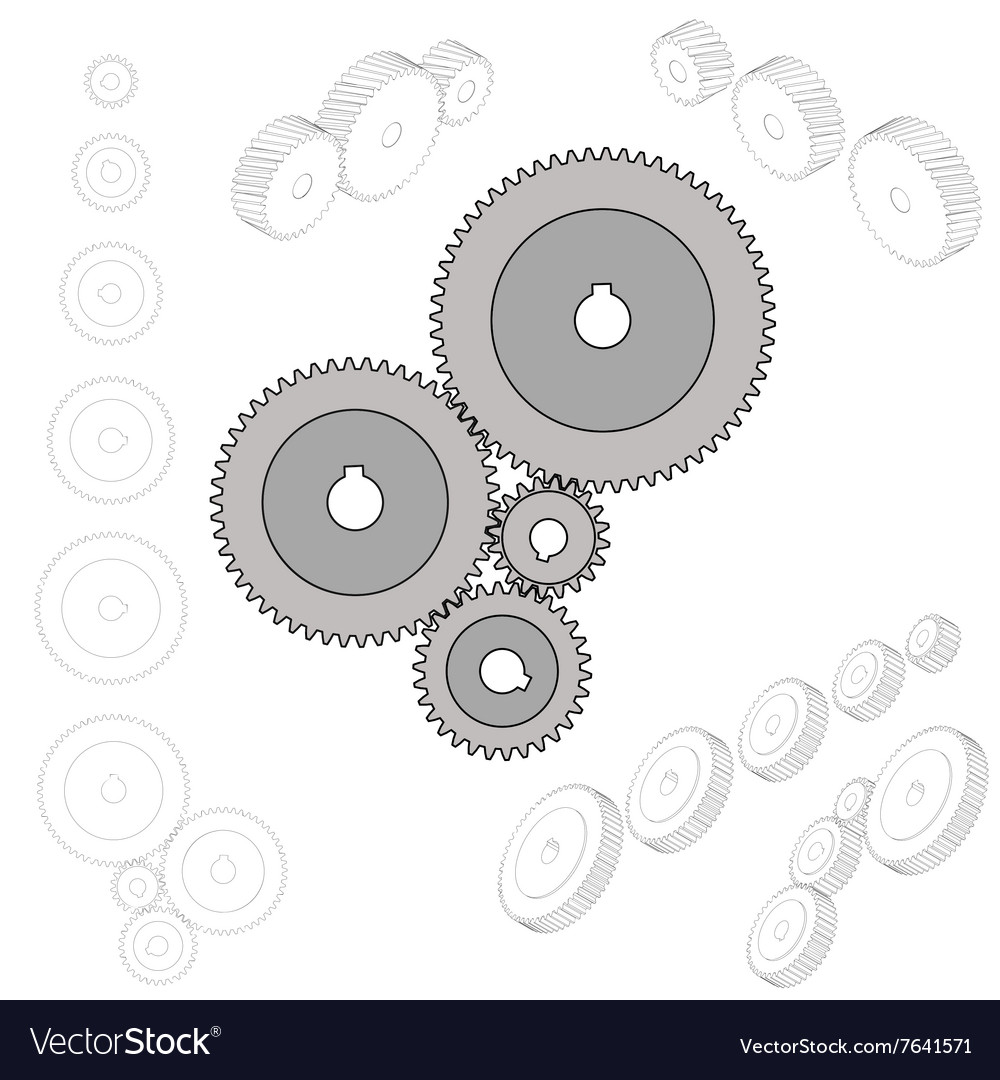 Set of gear wheels in black and white By changing