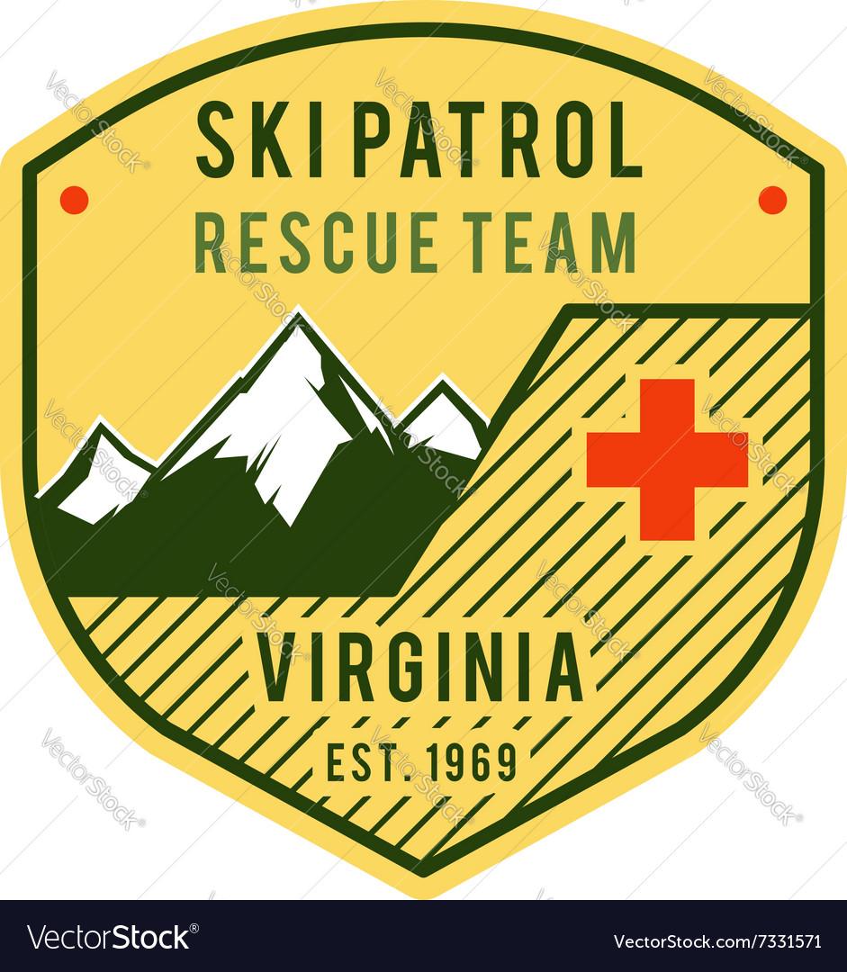 Ski Patrol Label Retro Mountain winter sports