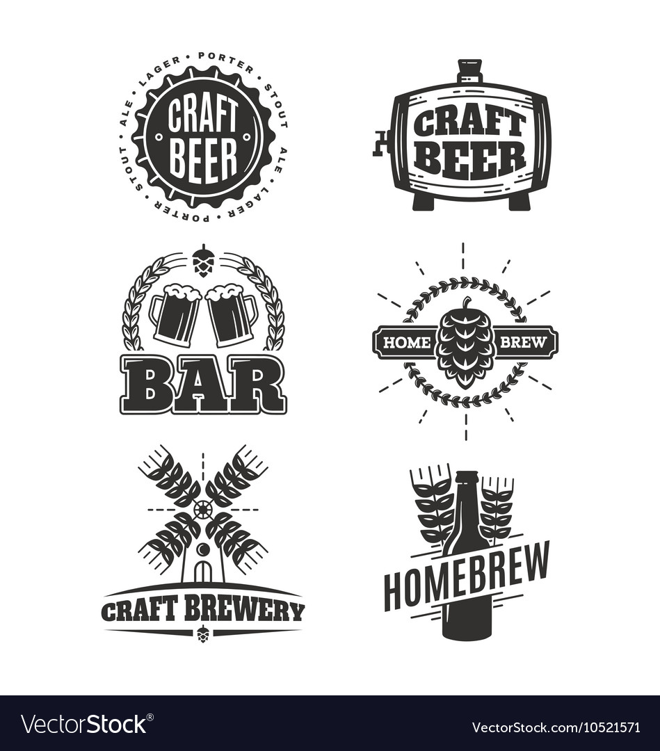 Vintage craft beer logos vector image