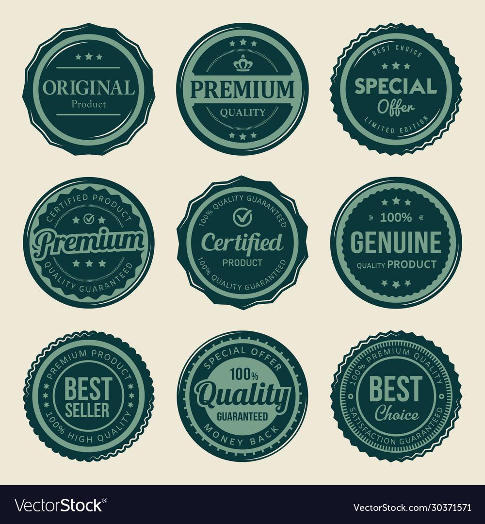 Vintage retro seal premium badges labels