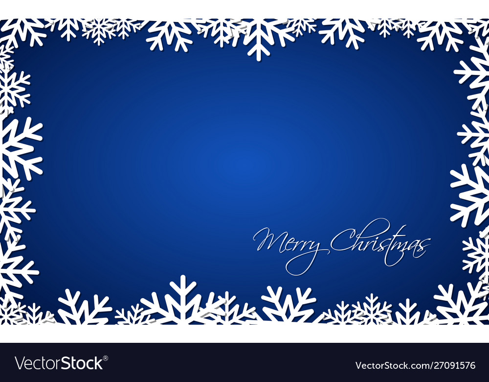 Blue Christmas Gift Card Merry Christmas Vector Image