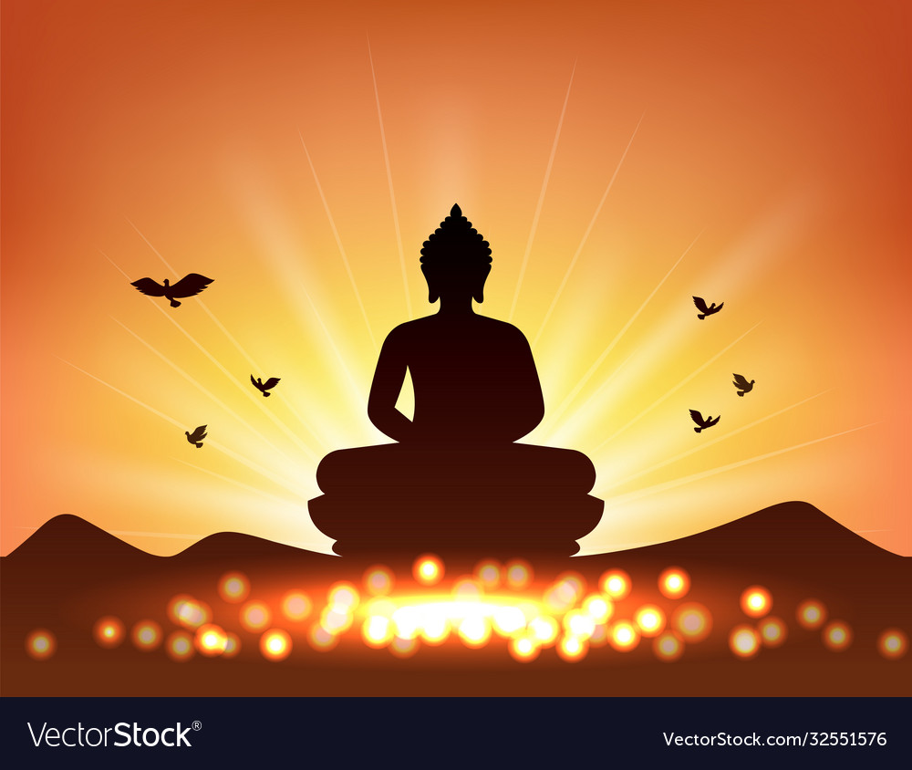 Buddha silhouette and candlelight for buddhism