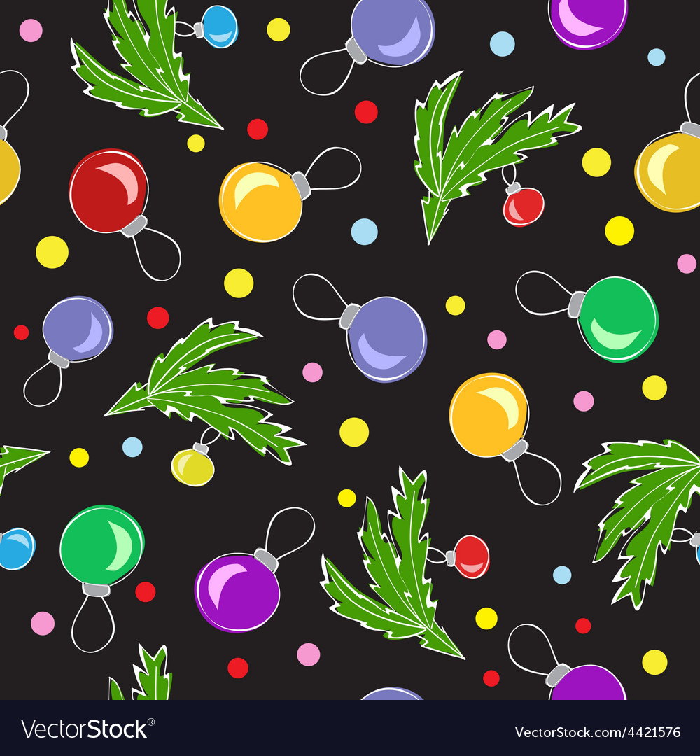 Christmas decorations balls seamless pattern vector image