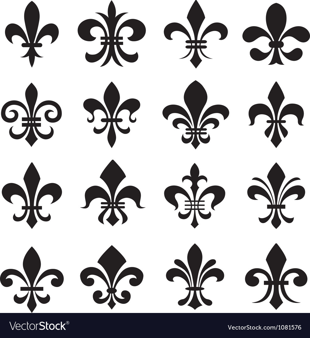 Classic Fleur De Lys Symbol Icon Set Royalty Free Vector