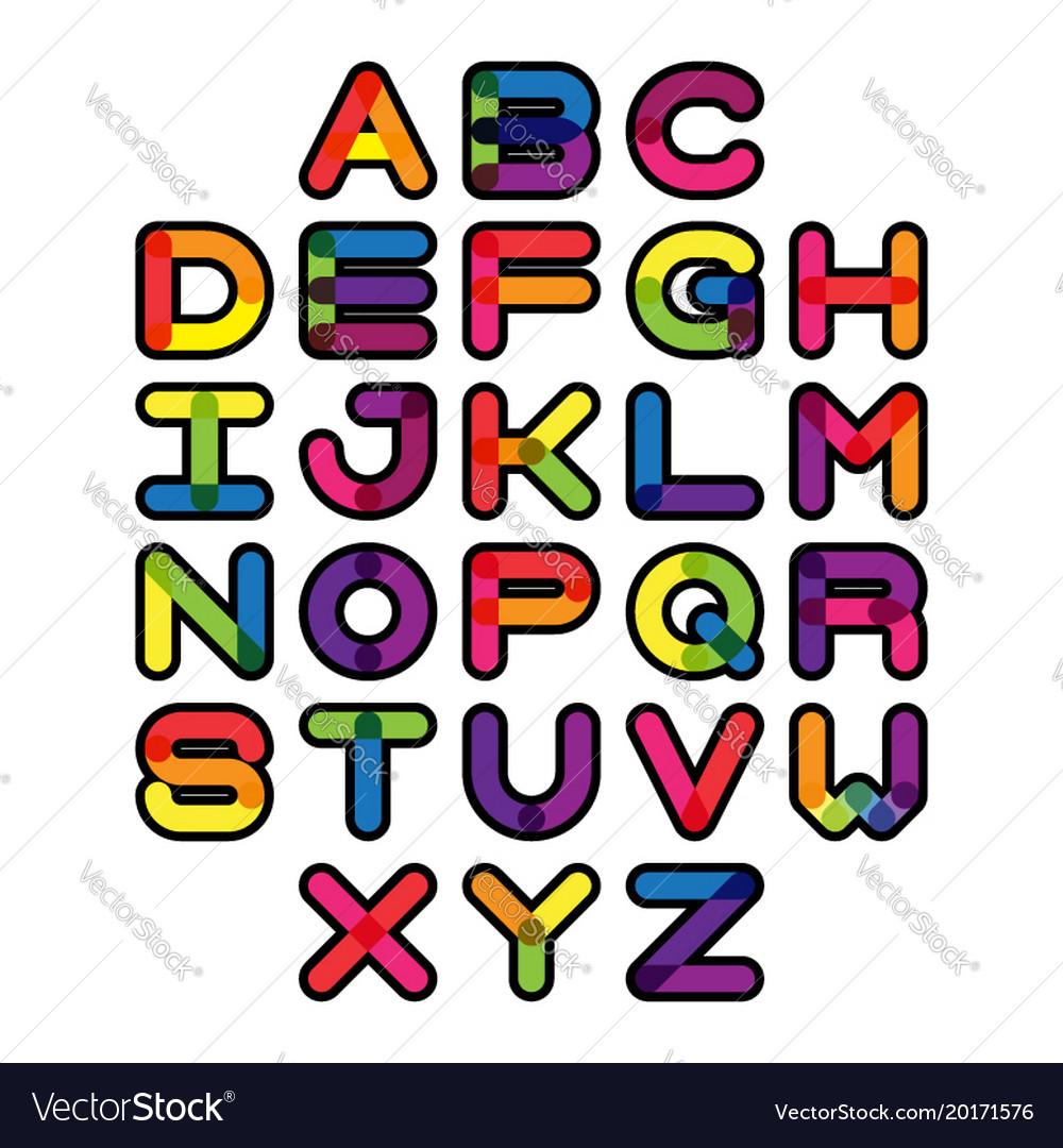 Colorful font and alphabet alphabet letter