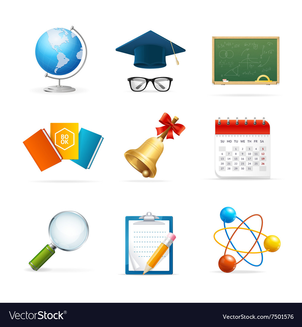 Colorful School Icon Set