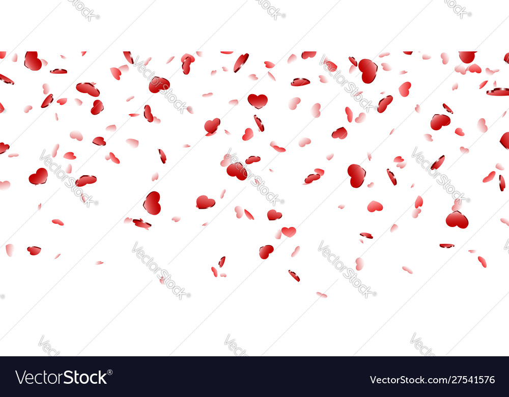 Heart falling confetti isolated white background vector
