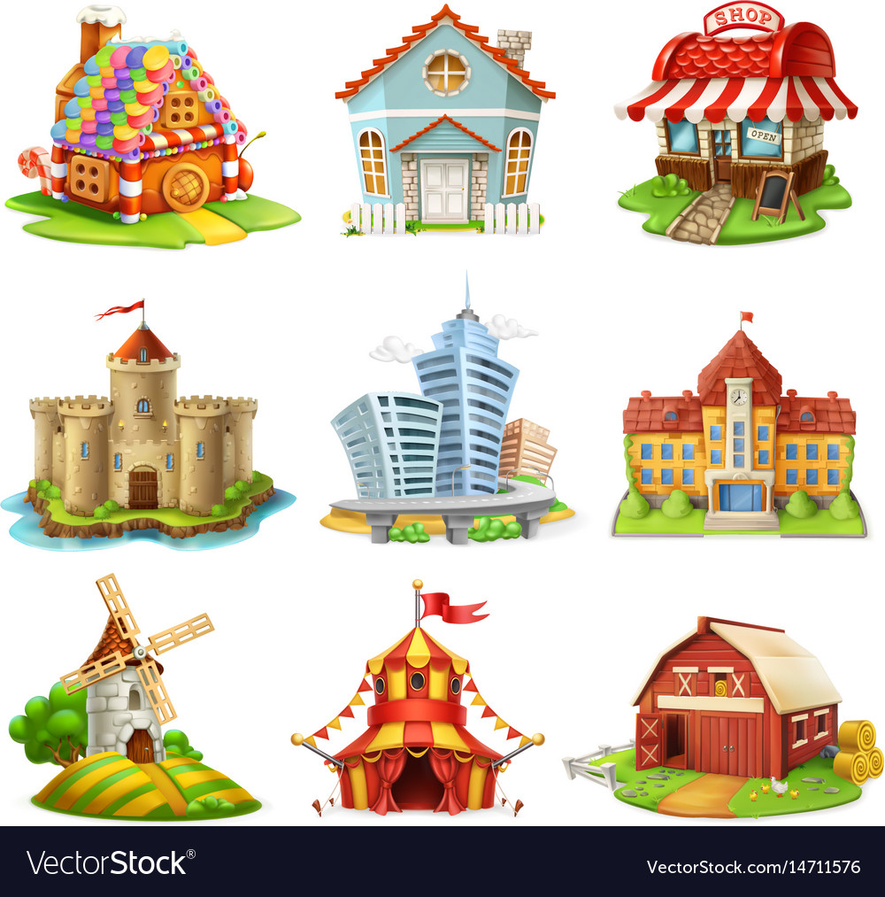 Houses and castles buildings 3d icons set