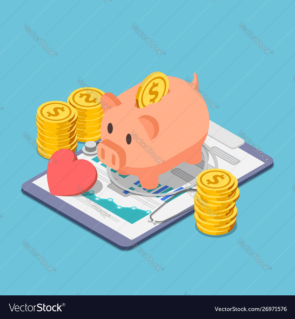 Isometric piggy bank and stethoscope with piles