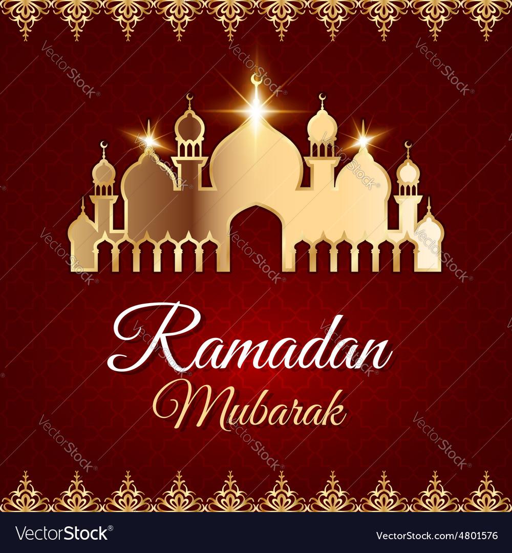 ramadan mubarak greeting card with mosque vector image