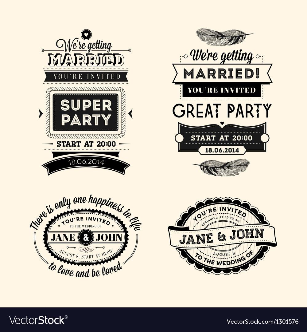 Retro wedding stamps vector image