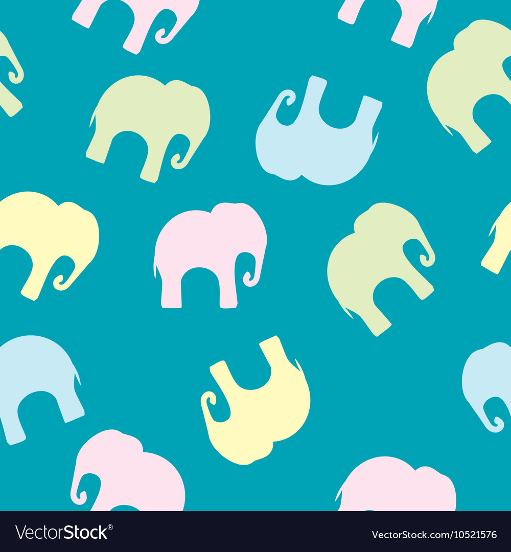 Seamless pattern with colorful elephants for