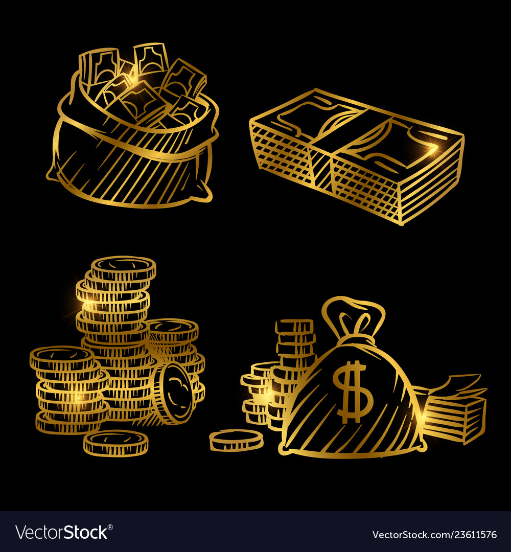 Sketch of money golden coins and money