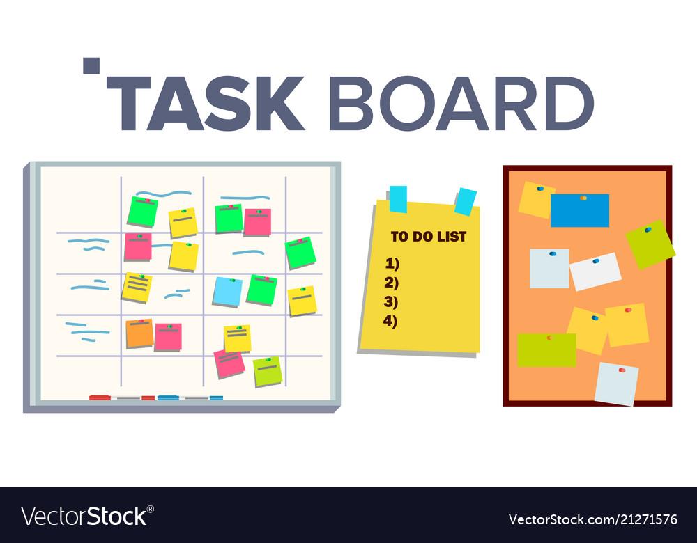 Task board set sticker notes scrum tasks