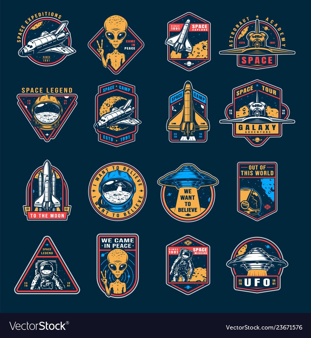Vintage space colorful emblems set